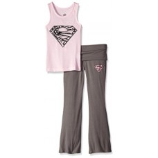 DC Comics Girls 'Superman Supergirl Americana' Yoga Pajama Set, Pink, 4/5