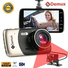 DEMUX Dual Dash Cam Front and Rear | Dual Lens Dashboard Camera with Night Vision | Car DVR | Vehicle Video Recorder | Full HD 1080P, Parking Mode,...