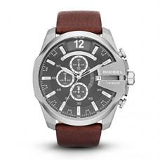 Diesel Men's Mega Chief Quartz Stainless Steel and Leather Chronograph Watch, Color Silver-Tone, Brown (Model: DZ4290)