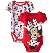 Disney Baby Girls  Minnie Mouse 2 Pack Bodysuit-Fabulous, Red, 6-9 Months
