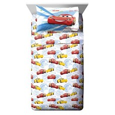 Disney/Pixar Cars 3 Movie High Tech White/Yellow/Red 3 Piece Twin Sheet Set with Lightning McQueen and Cruz Ramirez (Official Disney/Pixar Product)