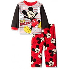Disney Toddler Boys' Mickey Mouse 2-Piece Fleece Pajama Set, Red Red, 3T
