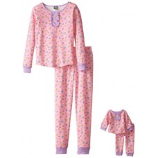 Dollie & Me Big Girls' Star Snugfit Sleepwear Set, Pink, 10