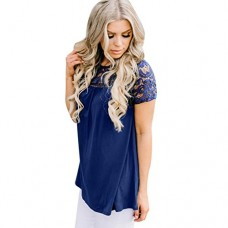 DondPO Women Lace Vest Top Blouse Casual Tank Tops T-Shirt Sexy Women 's Basic Tees Casual Floral Short Sleeve Summer Clothes (Blue, XXL)