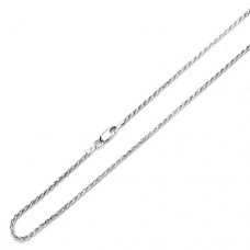 Sterling Silver 2mm Italian Rope Chain Necklace (16, 18, 20, 22, 24, 26, 28, 30 Inch), 16