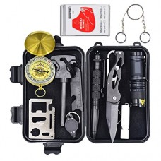 Eachway Professional 10 in 1 Emergency Survival Gear Kit Outdoor Survival Tool with Fire Starter Whistle Survival Knife Flashlight Tactical Pen etc...