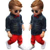 Efaster 1Set Kids Toddler Boys Handsome Denim T-shirt+Trousers Pants Clothes Outfits (3(2T))