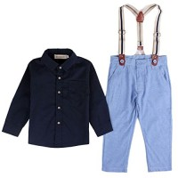 Baby Boy Long Sleeve T-shirt Suspender Straps and Pants Clothing Sets Outfit 2-3Years Navy Blue (Tag size:100)