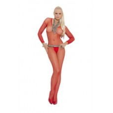 Elegant Moments Women's Plus-Size Crotchless Long Sleeve Fishnet Bodystocking, Red, One Size