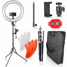 Emart 18 inch Dimmable Ring Light with Stand, 75W Fluorescent Flash Circle Lighting Kit for Photography, Makeup & Photo/Video Shooting in Studio, f...
