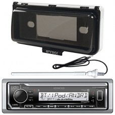 New Kenwood Marine Boat Yacht Outdoor In Dash Bluetooth MP3 USB AM/FM Radio Stereo Player With Splashproof Radio Cover + Marine Radio Antenna - Com...