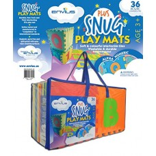 """EnviUs Snug Plus Play 36 Pieces Mat Alpha and Numeric Formamide Free Ultra Thick, 12"""" x 12"""" x 9/16"""""""