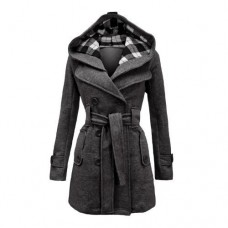 Envy Boutique Women's Military Button Hooded Fleece Belted Jacket 8 Charcoal Grey
