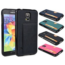 "Black Pearl Samsung Galaxy S5 5.1"" Credit Card Wallet Case with Black Bumper Frame Cover [Limited Edition]"