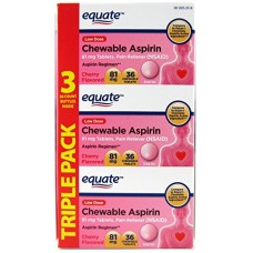 Equate Aspirin 81 Mg, Adult Low Dose, Cherry Flavor, 108 Chewable Tablets, (Compare to Bayer Chewable Aspirin)
