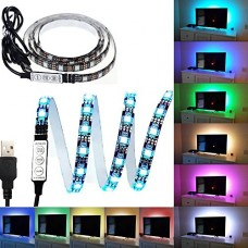 Black PCB TV BackLight Kit,Computer Case LED Light,eTopxizu 3.28Ft Multi-colour 30leds Flexible 5050 RGB USB LED Strip Light with 5v USB Cable And ...