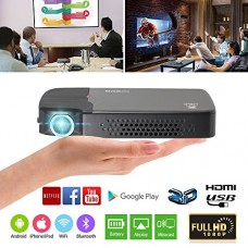 EUG 3D WiFi DLP Projector Mini Pocket Size Android Bluetooth Projectors Portable for Indoor Outdoor Movie Games,Built-in Battery Home Theater Proye...