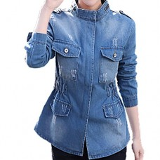 Euone Women Plus Size Long Sleeve Chaqueta Tops Stand Collar Pockets Jean Coat (XL, Blue)