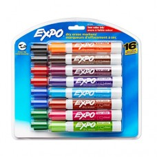 Expo Low-Odor Dry Erase Markers, Chisel Tip, 16-Pack, Assorted