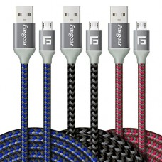 Micro USB Charger, 3 pcs (10ft/3M) Fasgear Nylon Braided Tangle-Free Fastest charger data colorful cable with Metal Connectors for Android, Samsung...
