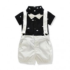 FERENYI US Baby Boys Bowtie Gentleman Romper Jumpsuit Overalls Rompers (0-6 Months, Black 3)