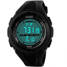 Men's Sport Watches LED Screen Large Face Waterproof Stopwatch Alarm Military Wrist watch Black