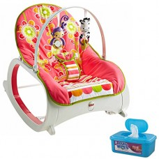 Fisher Price Infant-To-Toddler Rocker, Floral Confetti Plus BONUS Hypoallergenic, Unscented Baby Wipes, 128 Count