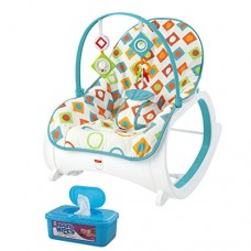 Fisher Price Infant-to-Toddler Rocker, Geo Diamonds Plus BONUS Hypoallergenic, Unscented Baby Wipes, 128 Count