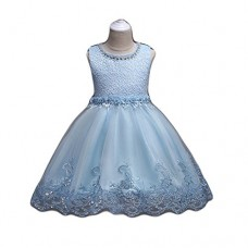 FKKFYY Flower Girl Dresses Blue Tulle Dress Bridal Wedding Party Ball Gown A-Line Little Child Girl Princess Birthday Elegant Pageant Toddlers 3T S...