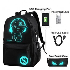 FLYMEI Anime Cartoon Luminous Backpack with USB Charging Port and Anti-theft Lock & Pencil Case, Unisex Fashion Daypack Shoulder School Rucksack La...