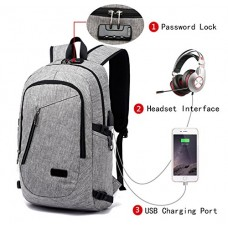 FLYMEI Laptop Backpack with USB Charging Port and Lock & Headphone Compartment, Fits 12-16 inch laptop and Notebook, Waterproof School Rucksack Bus...