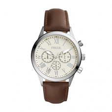 Fossil Men's 'Flynn Midsize' Quartz Stainless Steel and Leather Casual Watch, Color Brown (Model: BQ1741IE)