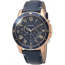 Fossil Men's Grant Sport Quartz Stainless Steel and Leather Chronograph Watch, Color Rose Gold-Tone, Blue (Model: FS5237)