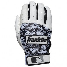 Franklin Sports Adult MLB Digitek Batting Gloves, Adult Large, Pair, Grey/White/Black Digi