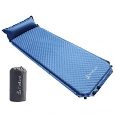 FreeLand Camping Sleeping Pad Self Inflating with Attached Pillow Lightweight Air Mattress - Light Blue Color