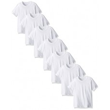 Fruit of the Loom Big Boys' Cotton Crew Tee Shirt (Pack Of 7), White Ice, L