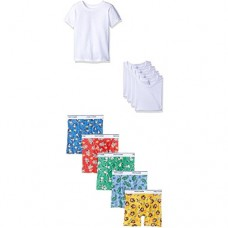 Fruit of the Loom Little Boys' 10-Piece White Crew Tee and Boxer Brief Set, Assorted, 2T/3T