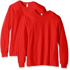 Fruit of the Loom Men's Long Sleeve T-Shirt (2 Pack), Fiery Red, Medium