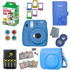 Fujifilm Instax Mini 9 Instant Camera – 10 Pack Accessory Camera Bundle – 20 Instax Film – Camera Case – Instax leather Album - 4 AA Rechargeable B...