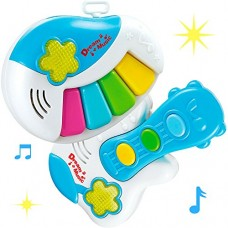 Toddler Set of Two Musical and Colorful Electric Instruments - Interactive Learning Guitar and Piano Toys For Your Rockstar Baby With Music and Lights