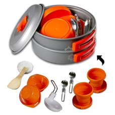 Gear4U: Best BPA-FREE Camping Cookware Set - Mess Kit - 13 Pieces including Free Bonus - Non-Stick Anodized Aluminum - Complete Lightweight Folding...