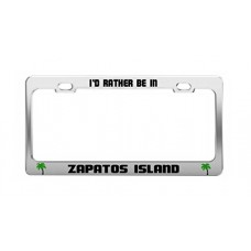 I'D RATHER BE IN ZAPATOS ISLAND Philippines Shore Coast Auto License Plate Frame