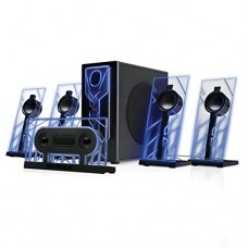 BassPULSE 5.1 Computer Speakers Surround Sound with Subwoofer , 80 Watts and Blue LED Glow Lights by GOgroove - Works with Desktop and PC Computers...
