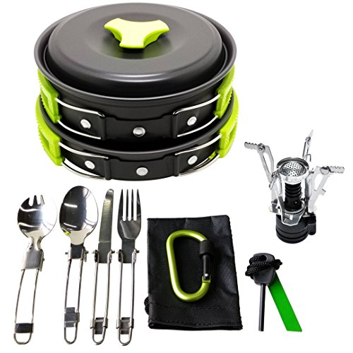 17Pcs Camping Cookware Mess Kit Backpacking Gear Hiking Outdoors Bug Out Bag