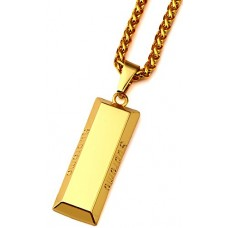 "Goldenchen Hip Hop Alloy Square Block Engraved ""supreme"" Pendant Necklace 30 Inch Chain (Gold)"