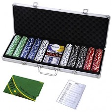 Goplus 500 Chips Poker Dice Chip Set 11.5 Grams Texas Hold'em Cards w/ Silver Aluminum Case & Placemat