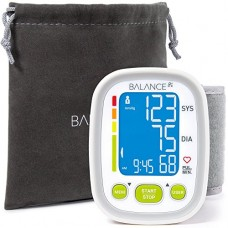 "Wrist Blood Pressure Cuff Monitor by Balance, ""2017 Update"" Ultra Portable High Accuracy Readings, Easy-to-Read LCD, Travel Bag included with Two U..."