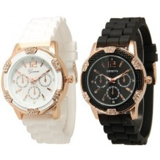 Black and White Faux Rhinestones Chronograph Silicone Watch