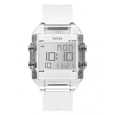 GUESS Men's Digital Casual Silicone Watch, Color: White (Model: U0992G1)