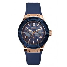 GUESS Women's Stainless Steel Silicone Casual Watch, Color Rose Gold-Tone/Rigor Blue (Model: U0571L1)